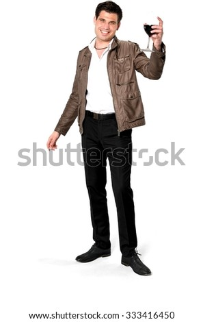 Friendly Caucasian man with short dark brown hair in casual outfit holding wine glass - Isolated