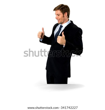 Friendly Caucasian man with short medium blond hair in business formal outfit cheering - Isolated