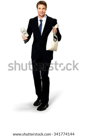 Friendly Caucasian man with short medium blond hair in business formal outfit holding money - Isolated