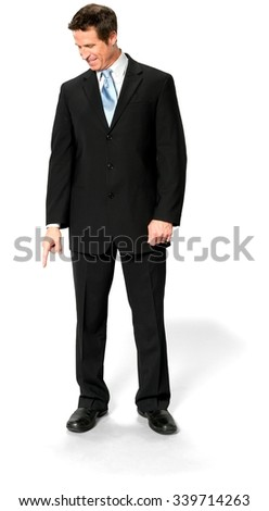Friendly Caucasian man with short medium blond hair in business formal outfit pointing using finger - Isolated