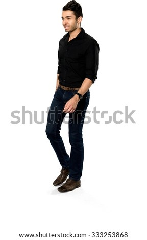 Friendly Caucasian with short dark brown hair in casual outfit walking - Isolated