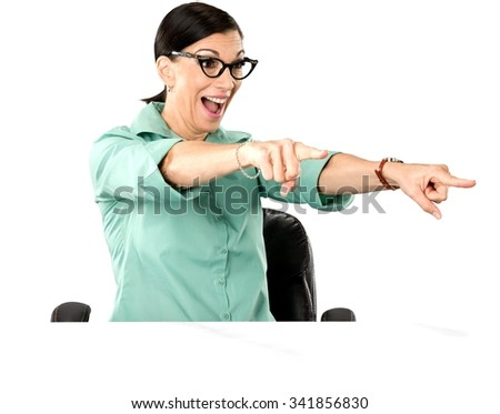 Friendly Caucasian woman dark brown in business casual outfit celebrating - Isolated - stock photo