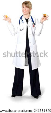 Friendly Caucasian woman medium blond in uniform holding pill bottle - Isolated