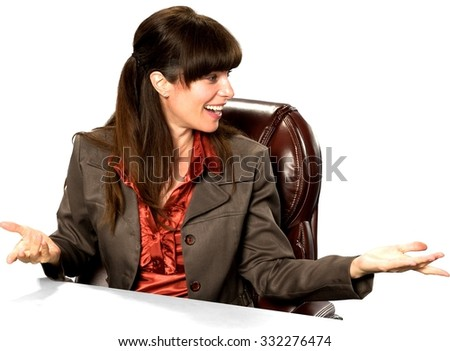 Friendly Caucasian woman with long dark brown hair in business formal outfit with arms open - Isolated