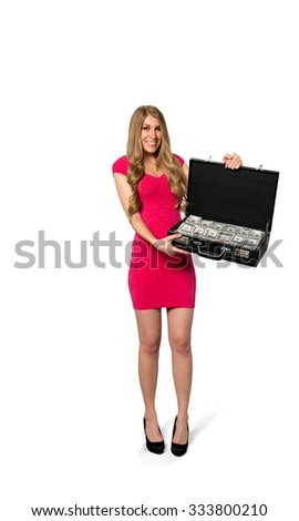 Friendly Caucasian young woman with long light blond hair in evening outfit holding briefcase - Isolated