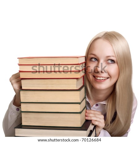 Friendly College student girl with books isolated