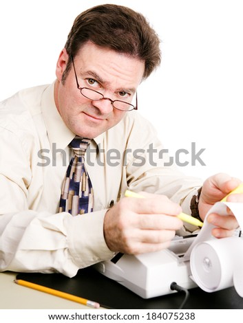 Friendly, competent accountant doing your taxes.   - stock photo