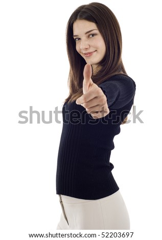 Friendly confident business woman giving you a thumbs up! Isolated on white background