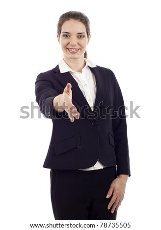 Friendly confident business woman stretches out hand for handshake isolated over white background - stock photo