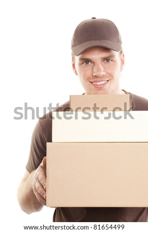 friendly deliveryman with package