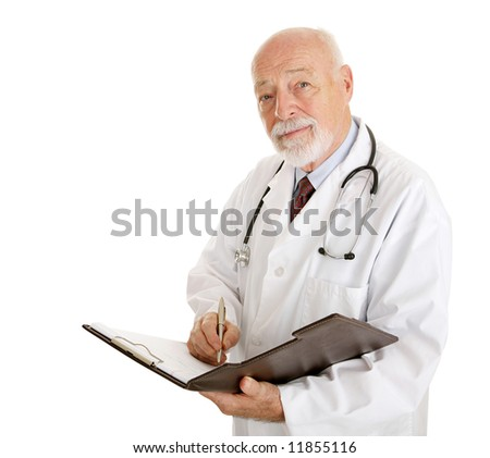 Friendly doctor taking your medical history.  Isolated on white. - stock photo