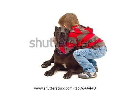 Friendly embraces a child and dog - stock photo