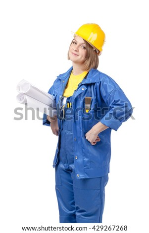 friendly engineer or architect female in yellow helmet and blue workwear with blueprints isolated on white background