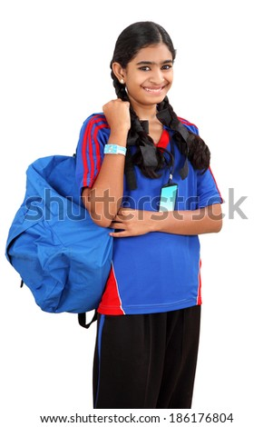 Friendly ethnic Indian female high school student with backpack isolated on white background - stock photo