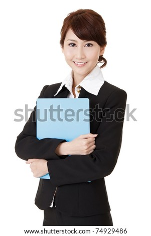 Friendly executive woman of Asian smiling and holding file document paper, half length closeup portrait on white background. - stock photo