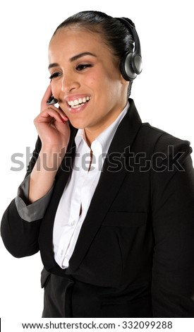Friendly Hispanic young woman with medium dark brown hair in business formal outfit using headset - Isolated