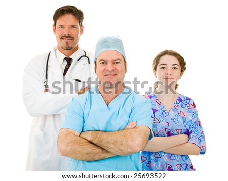 Friendly hospital medical team isolated on white background.