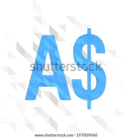 friendly illustration low poly of Australia Dollar isolated on trendy white triangle background  - stock photo