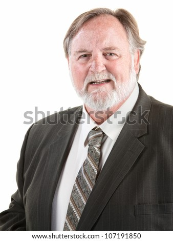 Friendly large man smiling over white background