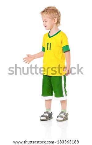 Friendly little boy, isolated on white background - stock photo