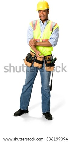 Friendly Male Construction Worker with short black hair in uniform hurt his arm - Isolated - stock photo