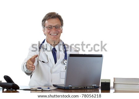 Friendly male doctor sitting in office offering hand for handshake. isolated on white background.