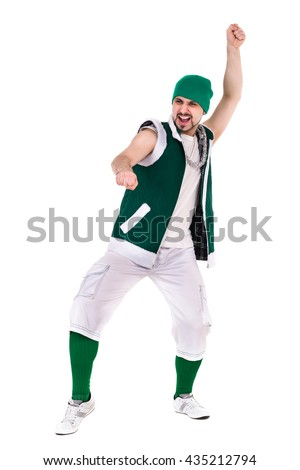 friendly man dressed like a funny gnome dancing Isolated on white