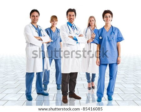 Friendly medical team in a bright room - stock photo
