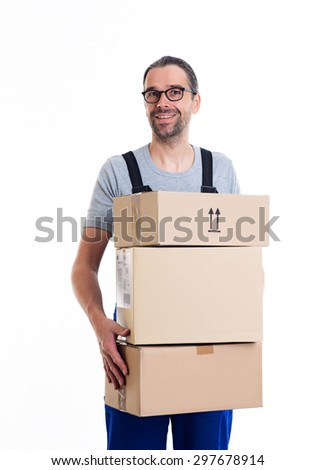 friendly postman with parcels in front of white background