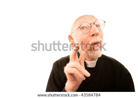 Friendly Priest with Gray hair on White Background