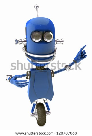 friendly robot pointing on something - cartoon character -