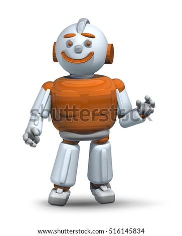 Friendly robot ready to help and serve 3d isolated on white background