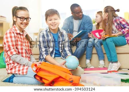 Friendly schoolkids - stock photo