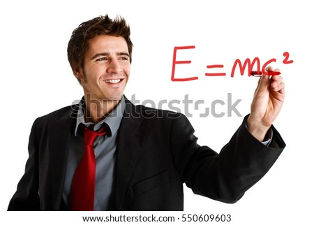 Friendly scientist showing the relativity theory