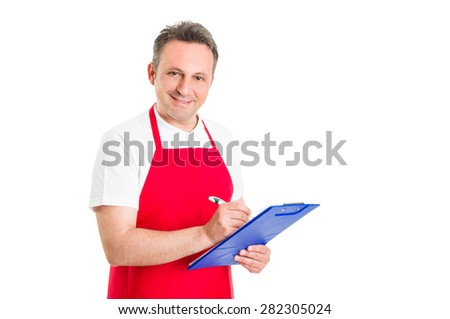 Friendly shop manager holding clipboard and ckecklist - stock photo