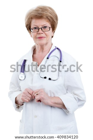 Friendly smiling an elder Caucasian doctor looking at camera, isolated on white background - stock photo