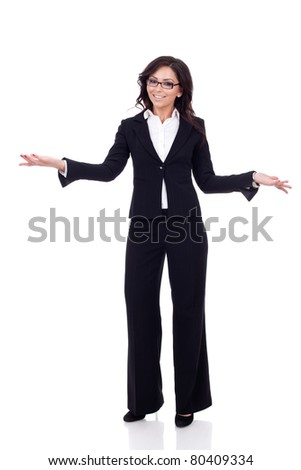 Friendly smiling business woman welcoming. Isolated over white background
