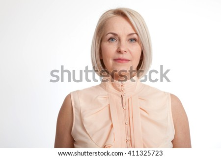 Friendly smiling middle-aged business woman isolated on white background