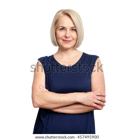 Friendly smiling middle-aged woman isolated on white background