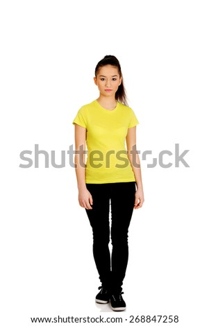Friendly smiling young student woman. - stock photo