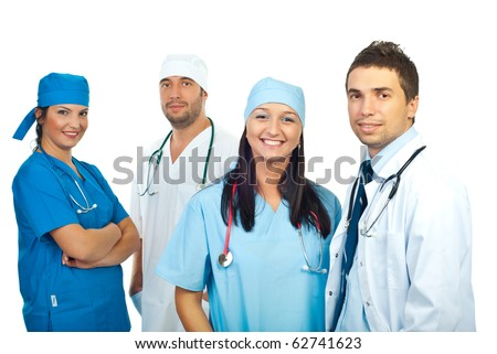 Friendly smiling young team of doctors isolated on white background - stock photo