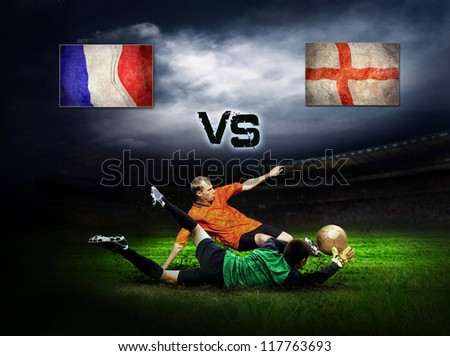 Friendly soccer match between France and England