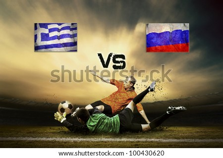 Friendly soccer match between Greece and Russia - stock photo