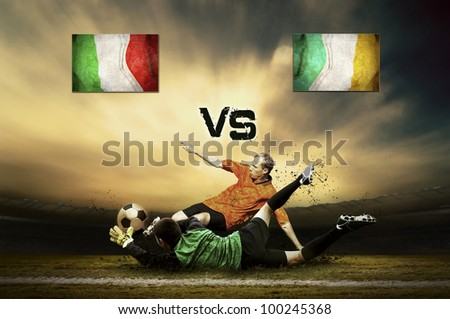 Friendly soccer match between Italy and Ireland - stock photo