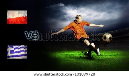Friendly soccer match between Poland and Greece - stock photo