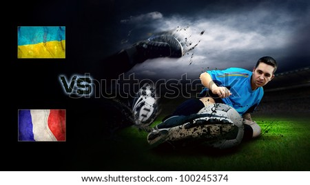 Friendly soccer match between Ukraine and France - stock photo