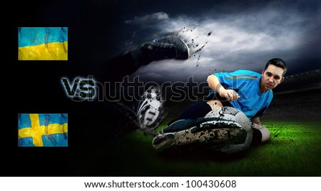 Friendly soccer match between Ukraine and Sweden - stock photo