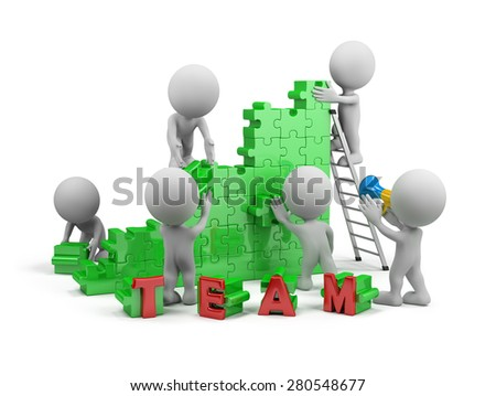 Friendly team makes common cause. 3d image. White background.