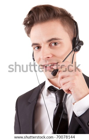 Friendly telephone operator isolated over white - stock photo