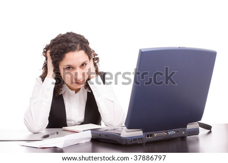 Friendly telephone operator working with laptop isolated